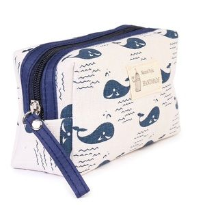 $10 or bundle for $7 -  whales motif cosmetic bag